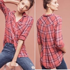 Anthropologie Cloth & Stone pink plaid shirt
